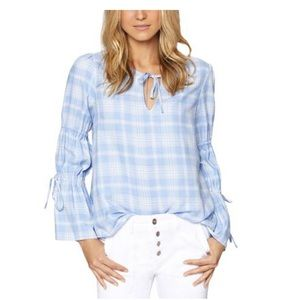 NWT Sanctuary Light Blue & White Plaid Top